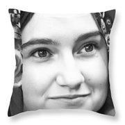 Girl With A Rose Veil 4 Bw Throw Pillow