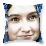 Girl With A Rose Veil 4 Illustration Throw Pillow