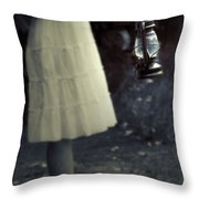 Girl With An Oil Lamp Throw Pillow by Joana Kruse