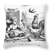 Girl With Birds, 1873 Throw Pillow