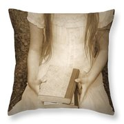 Girl With Books Throw Pillow