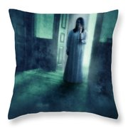 Girl With Candle In Doorway Throw Pillow