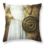Girl With Gong Throw Pillow