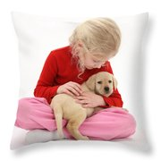 Girl With Puppy Throw Pillow