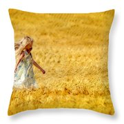 Girl With The Golden Locks Throw Pillow