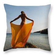 Girl With The Orange Veil Throw Pillow