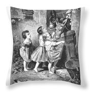 Girls And Donkeys, C1870 Throw Pillow