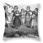 Girls Playing, 1844 Throw Pillow