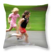 Girls Running Throw Pillow