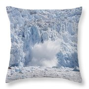 Glacial Ice Calving Into The Water Throw Pillow