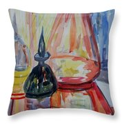 Glass Bottles Still Life Throw Pillow