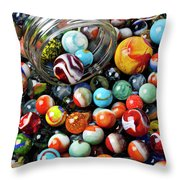 Glass Jar And Marbles Throw Pillow by Garry Gay