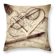 Glasses And Ink Pen On Letter Throw Pillow