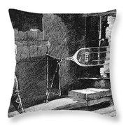 Glassworker, 19th Century Throw Pillow