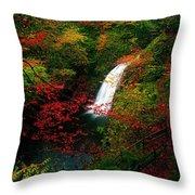 Glenoe Waterfall And Glen, Co Antrim Throw Pillow