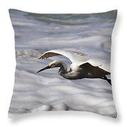 Gliding Snowy Egret Throw Pillow