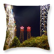 Glimpse Of The Derricks In Kilgore Throw Pillow