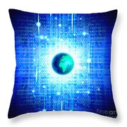 Globe With Technology Background Throw Pillow