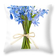 Blue Wildflower Bouquet Throw Pillow