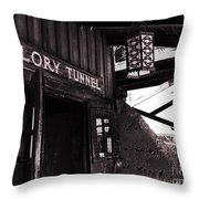 Glory Tunnel Mine Entrance In Calico California Throw Pillow by Susanne Van Hulst