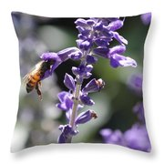 Glowing Bee In Purple Flowers Throw Pillow