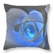 Glowing Blue Rose Throw Pillow