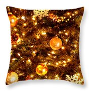 Glowing Golden Christmas Tree Throw Pillow