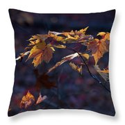 Glowing Maple Leaves Throw Pillow