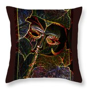 Glowing Mask With Leaves Throw Pillow