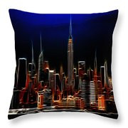 Glowing New York Throw Pillow