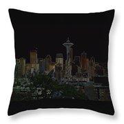 Glowing Seattle Skyline Throw Pillow