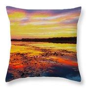 Glowing Skies Over Crews Lake Throw Pillow