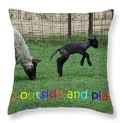 Go Outside And Play Rainbow Throw Pillow