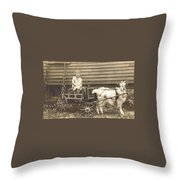 Goat Wagon Throw Pillow