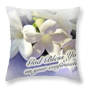 God Bless You On Your Confirmation Floral Greeting Card Throw Pillow