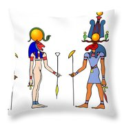 Gods And Goddess Of Ancient Egypt Throw Pillow by Michal Boubin