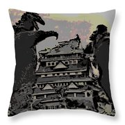 Godzilla And King Kong Hanging Out In Tokyo Throw Pillow
