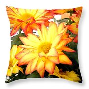 Gold And Red Autumn Mums Throw Pillow