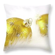 Gold Balls With Feathers Throw Pillow
