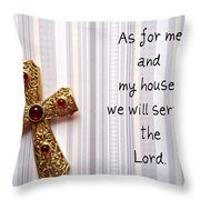 Gold Cross Throw Pillow by Cynthia Amaral