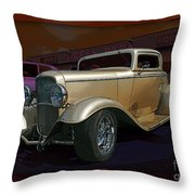 Gold Hot Rod Throw Pillow