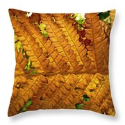 Gold Leaf Throw Pillow by William Fields