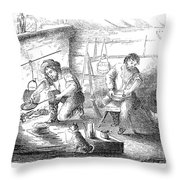 Gold Mining Camp, 1853 Throw Pillow