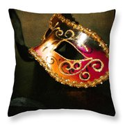 Gold Scroll Masquerade Mask Throw Pillow