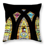 Gold Stained Glass Window Throw Pillow