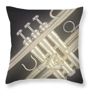 Gold Trumpet On Black Throw Pillow