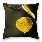 Golden Aspen Leaf Throw Pillow