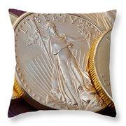 Golden Coins II Throw Pillow