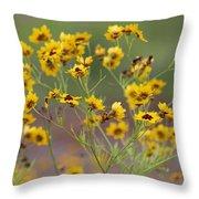 Golden Coreopsis Tickseed Wildflowers Throw Pillow