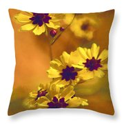 Golden Coreopsis Wildflowers  Throw Pillow